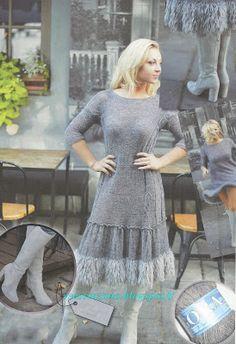 """ВСЕ СВЯЗАНО. ROSOMAHA.: Зимнее платье с """"меховой"""" отделкой."""