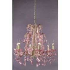 French Style Marie Therese Cream Cracked & Pink 6 Arm Chandelier