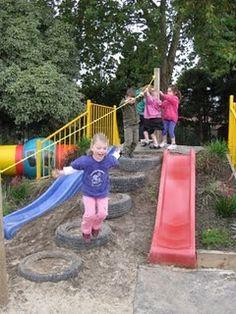 I love this playground idea. It looks like a lot of fun. Preschool Playground, Backyard Playground, Playground Ideas, Sloped Backyard, Backyard Slide, Natural Playground, Kids Play Area, Kids Fun, Outdoor Classroom