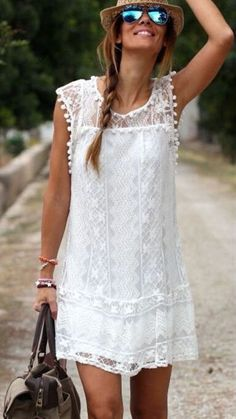 Summer Boho white lace Mini dress top