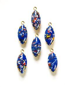 Vintage Blue Millefiori Glass Navettes in 1 Loop by yummytreasures