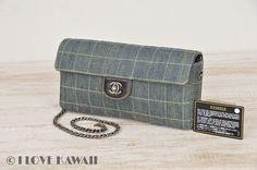 CHANEL Denim / Black Leather Choco Bar Shoulder Bag