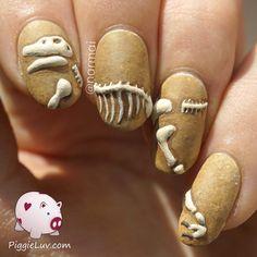 3D dinosaur nail art by Narmai