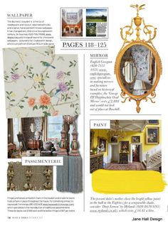 Design elements for a traditional room in Daffodil Yellow.from World of Interiors
