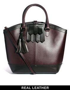 Image 1 of ASOS Leather Fringe Tote In Color Block