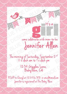 baby girl shower invitations baby girl shower by BlueFenceDesigns