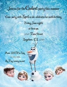 Disney Frozen Summer Pool Party Invitation Birthday Party You