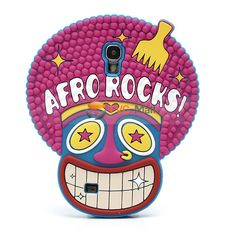 Super Cute 3D Afro Rocks Silicone Case Cover for Samsung Galaxy S IV S 4 i9500 i9502 i9505 - Rose / Blue
