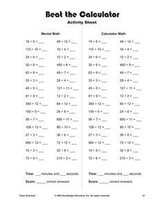 Grade 5 Decimals Worksheet dividing decimals by whole numbers (1-9 ...