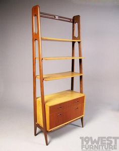 A dutch shelving unit from the 1950's, made of teak and birch wood.