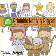 Printable Nativity Playset - These are lots of fun for kids to make and play with.  If you print the pieces on thick paper and laminate (or cover in clear contact paper) these can last for years!  Attach the pieces together with metal brads - this allows the parts to move, which makes this nativity set so much fun.