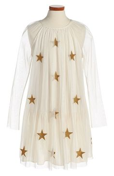 Free shipping and returns on Stella McCartney Kids 'White Misty' Star Appliqué Tulle Dress (Toddler Girls, Little Girls & Big Girls) at Nordstrom.com. Golden star appliqués dance across a long-sleeve tulle dress in a swingy trapeze silhouette.