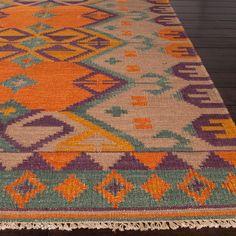 Jaipur Anatolia Kaliedoscope Burnt Orange Flat Weave Wool Rug - Image 1