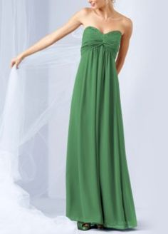 Long sheer chiffon dress with beaded neckline, Clover green, style F14867  http://www.davidsbridal.com/Product_Long-Sheer-Chiffon-Dress-with-Beaded-Neckline-F14867_Bridal-Party-Bridesmaids-Long-Bridesmaid-Dresses