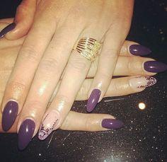 Purple Almond Nail