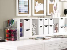 Martha Stewart Desktop Craft Storage System (comes in modular pieces for customizable arrangement of drawers, cubbies etc). Center Craft Space 8-Cubby Center Organizer Also available in light green. $74.00; 3-Cubby R/L side units $34.00.