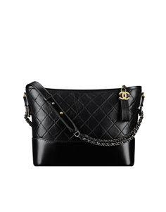 CHANEL'sGABRIELLE hobo bag, aged calfskin, smooth calfskin, silver-tone & gold-tone metal-black - CHANEL