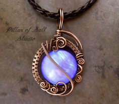 Wire wrapped pendant / Wire Wrapped jewelry handmade / copper jewelry / wire jewelry / purple mother of pearl / earthy jewelry / woven wire