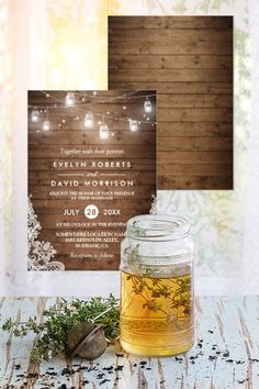 Mason jars hung with string lights, lace, and a barn wood background (which extends to the back of the card) make for an iconic rustic wedding invitation. At one dollar sixty one cents each for 25, even less for orders of 50 or more, this rustic wedding invite is a budget saver as well. You can even add photos or more text to either side for no additional cost. They come with plain white envelopes but you can order custom ones lined in this same design.
