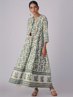 Ivory-Green Block-printed Organic Cotton Anarkali Kurta with Slip and Churidar (Set of Indian Inspired Fashion, Cotton Anarkali, Dress Indian Style, Indian Dresses, Indian Attire, Indian Wear, Hijab Fashion Inspiration, Long Sleeve Floral Dress, Block Dress