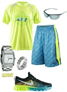 Men's fashion blue and yellow nike outfit