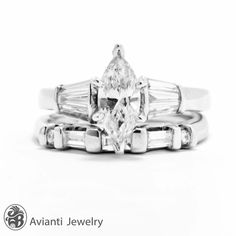 Diamond Wedding Set Marquise Cut Engagement Ring by AviantiJewelry
