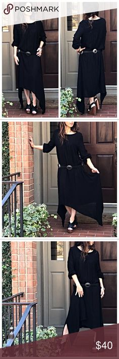 Black Asymmetrical loose fit maxi dress Black loose fit asymmetrical long sleeves maxi dress ( belt not included available in my boutique) PLEASE Use the Bundle option you can purchase and it will give you the option to pick the size you want BUNDLE and save 10% ( no trades price is firm unless bundled) Dresses Maxi