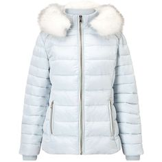 Miss Selfridge Pale Blue Quilted Puffer Coat (450 PLN) ❤ liked on Polyvore featuring outerwear, coats, jackets, pale blue, quilted coat, puffer coat, quilted puffer coat, puffy coat and miss selfridge coats