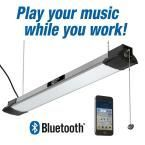 Commercial Electric 40 in. LED Brushed Nickel Shop Light with Bluetooth Speakers, Bright White, 3500 Lumens, Plug In 54569141 at The Home Depot - Mobile Garage Workshop Organization, Garage Storage, Business Organization, Garage Lighting, Shop Lighting, Led Garage Lights, Kitchen Lighting, Lighting Ideas, Led Shop Lights
