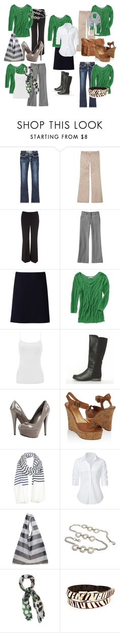 """Green Top- 5 Looks"" by mystyleboard ❤ liked on Polyvore featuring Hydraulic, Old Navy, Wallis, Uniqlo, Warehouse, Anne Michelle, Cleobella, Forever 21, Jigsaw and Steffen Schraut"