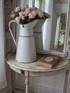 Attractive Chateau Chic: Half Moon Table, Enamel Pitcher, Antique Mirror
