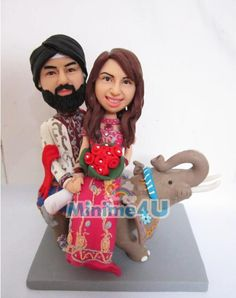 India couple ride an elephine, very unique wedding topper template,Special unique personalized mini me doll for you or your family which may bring a big impression,we offer personalised doll, your own mini me Wedding Cake Toppers Uk, Unique Cake Toppers, Personalized Wedding Cake Toppers, Wedding Cake Decorations, Wedding Cakes, India Wedding, Baby Cartoon, Baby Socks, Mini Me