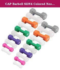 CAP Barbell SDN4 Colored Neoprene Hex Dumbbell Set - 2, 4, 6, 8, 10 lbs (5 pairs) - For Aerobic Workouts and Rehabilitation. Economy SDN4 Neoprene Covered Hexagonal Dumbbells by CAP Barbell - Buying your neoprene coated dumbbells by the set is definitely cheaper than buying by the single pair and CAP Barbell has configured each set into the most popular weights based on what customers ask for most. Each pair of dumbbells is completely encapsulated in brightly colored neoprene for easy...