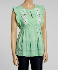 Take a look at the Sea & White Embroidered Ruffle Cap-Sleeve Top on #zulily today!