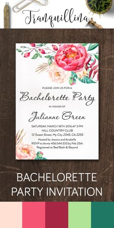 Printable Bachelorette Party Invitation, Bohemian Bachelorette Invitation Printable, Hens Night Invitation, Floral Bachelorette Invite, Pink Watercolor Flowers. More DIY invitations available at: tranquillina.etsy.com