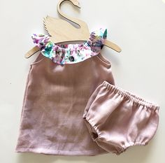 Linen Dress and Bloomers Set (Pink) - Two Little Stars Little Star, Kids Outfits, Rompers, Stars, Pink, Handmade, Clothes, Dresses, Fashion