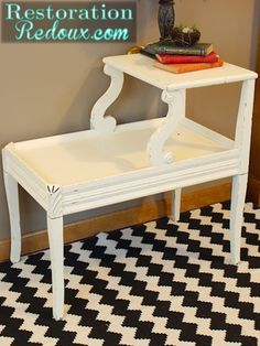Ivory Chalky Painted Vintage Table http://www.restorationredoux.com/?p=5124