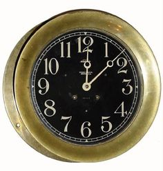 """.1927, Chelsea Clock Co., """"8 1/2"""" Ships Bell with Black Dial"""