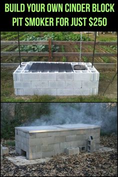 Cinder Block Fire Pit + more projects Outdoor Smoker, Outdoor Oven, Outdoor Fire, Outdoor Cooking, Outdoor Kitchens, Fire Cooking, Outdoor Living, Bbq Pit Smoker, Diy Smoker