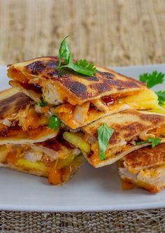 BBQ Chicken and Mango Quesadillas - I am going to tweak these and lighten them up for my Shrinking On a Budget Meal Plan. They are healthy to begin with so I doubt they will be that tough to revise. They look absolutely delicious!