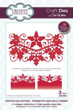 Creative Expressions Craft Dies by Sue Wilson - Festive Collection - Poinsettia and Holly Gemini Christmas Poinsettia, Christmas Frames, Christmas Cards, Sue Wilson Dies, Vinyl Paper, Beautiful Handmade Cards, Tampons, Creative Crafts, Paper Flowers