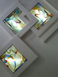 Could be beautiful light boxes in a bathroom Stained Glass Paint, Stained Glass Crafts, Stained Glass Designs, Stained Glass Panels, Fused Glass Art, Stained Glass Patterns, Mosaic Glass, Glass Painting Designs, Paint Designs