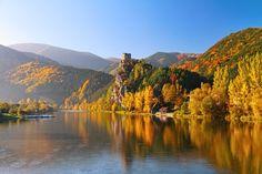 Vah river in Strecno near Zilina in beautiful autumn morning , Slovakia. Autumn Morning, Fabric Wall Art, En Stock, Wall Murals, Canvas Wall Art, Tourism, Landscape, Beautiful, World