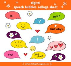 free digital speech bubble collage sheet – speech bubble scrapbooking embellishment