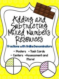 Adding and Subtracting Mixed Numbers Resources {Common Core Aligned} Adding Fractions, Multiplying Fractions, Math Math, Math Classroom, Math Resources, Math Activities, Student Teaching, Teaching Ideas, Rational Numbers