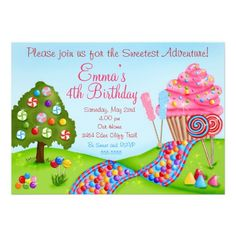 Oh Sweet Candy Land Birthday Cupcake Invitations from Zazzle.com