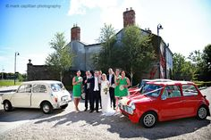 Bridal party with wedding Mini classic cars wedding photographer sligo Wedding Cars, Ireland Wedding, Minis, Classic Cars, Castle, Weddings, Bridal, Party, Photography