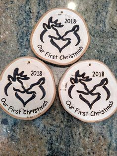 Excited to share the latest addition to my shop: Rustic Whitetail Buck and Doe Chriatmas ornament or gift tag - Initials can be added inside heart - First Christmas Ornament Wood Burning Crafts, Wood Burning Art, Wood Crafts, Christmas Couple, First Christmas Ornament, Christmas Items, Pyrography Designs, Pyrography Patterns, Deer Head Decor