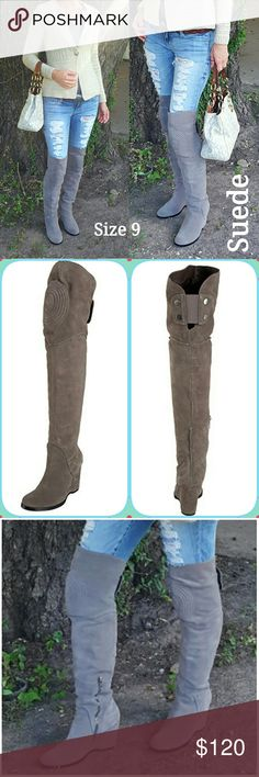 """BOGO! Over the Knee Suede Boots! Like New Make a statement in these stunning suede over-the-knee boots! Features knee patch and stud/snap detail at back of knee. Gray. Thigh circumfrence 15.5"""" -Shaft Length 26 1/4"""" from ball of foot -  Wedge heel Approx. 3 1/2    Very Comfortable!  **Color is gray, but changes depending on lighting, for example, indoors can look similar to second pic. Worn once- Like new condition!  **please check measurements. My legs were a bit thin for these and they…"""