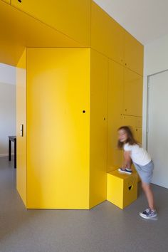 Built-in storage in kids room.